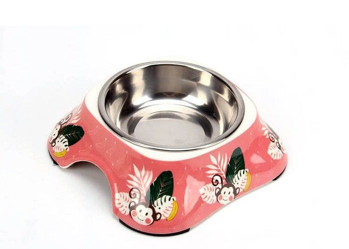 Various Printing Plastic Cat Bowls , Melamine With Skidproof Custom Pet Bowls