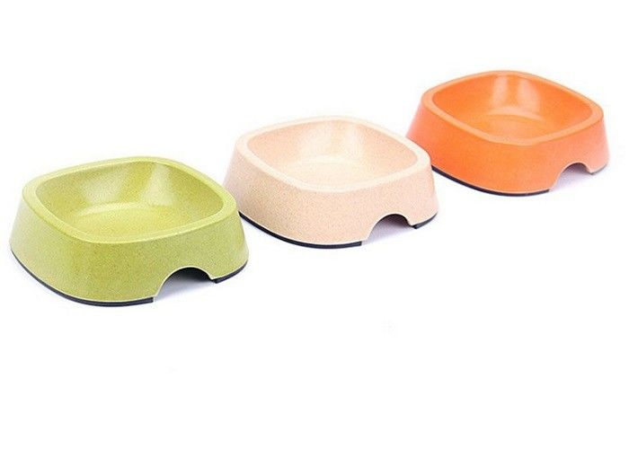 Three Color Plastic Pet Bowls Melamine Bamboo Powder 170ml Capacity Household