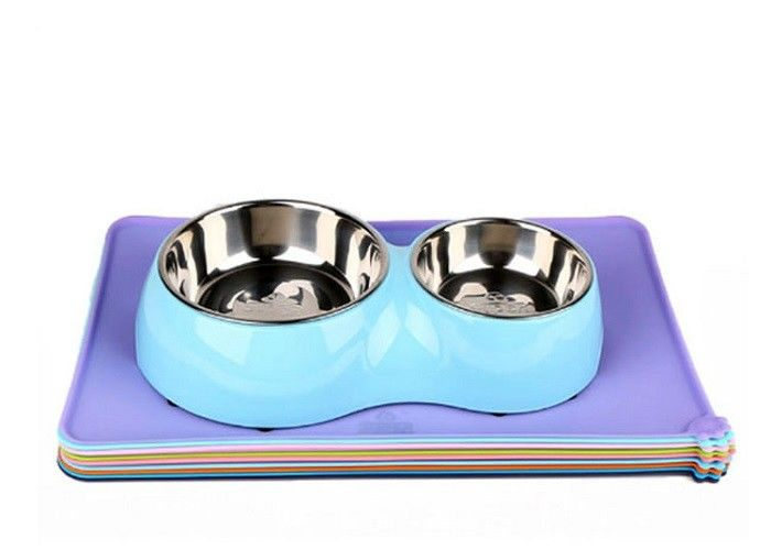 Folding Pet Food Tray Mat , Multicolor Non Slip Silicone Durable Cat Dinner Mat