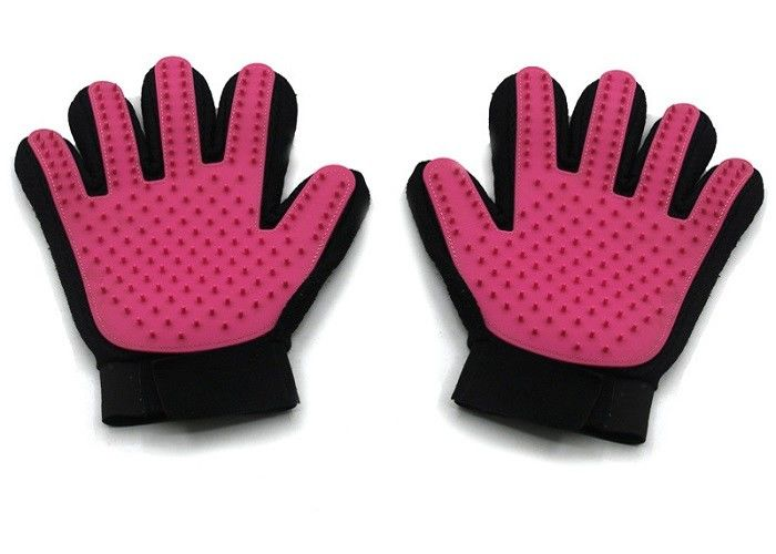 Bule Red Silicone Pet Massage Glove 24 * 16cm With Customized Logo Printing
