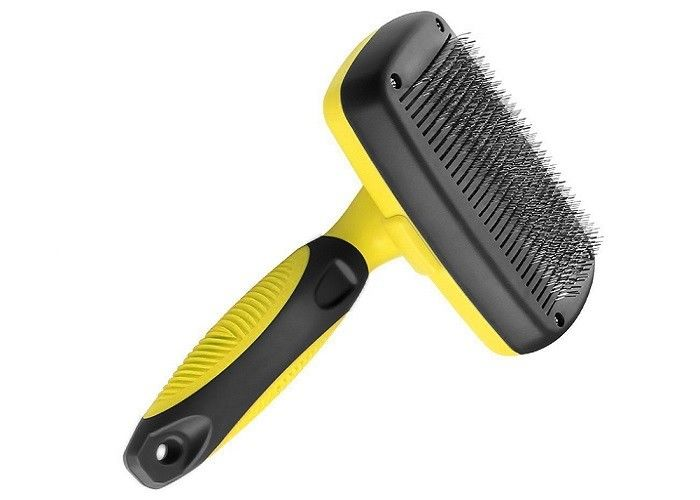 Yellow Pet Grooming Comb Stainless Steel Teeth TPR Handle OEM ODM Accepted