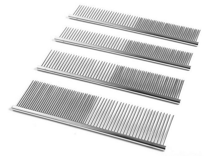 Single Side Steel Pet Comb Stainless Steel Wide Narrow Teeth Silver Durable