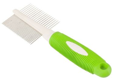 Cina Double Side Teeth Steel Pet Comb Green 21 * 6.8CM Dengan Pencetakan Logo Disesuaikan Distributor